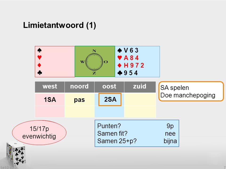 1e10 v3.0 7 Limietantwoord (1) ♠♥♦♣♠♥♦♣ ♠V 6 3 ♥A 8 4 ♦H 9 7 2 ♣9 5 4 westnoordoostzuid 1SApas Wat heeft partner.