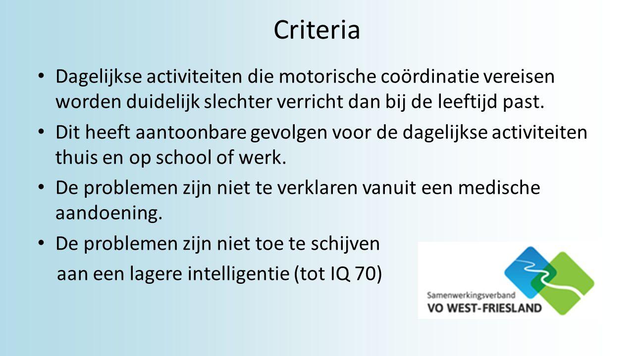Criteria Dagelijkse activiteiten die motorische coördinatie vereisen worden duidelijk slechter verricht dan bij de leeftijd past. Dit heeft aantoonbar