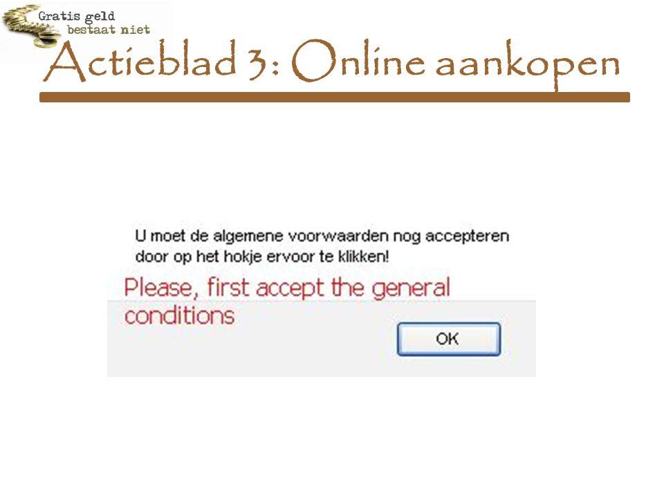 Actieblad 3: Online aankopen
