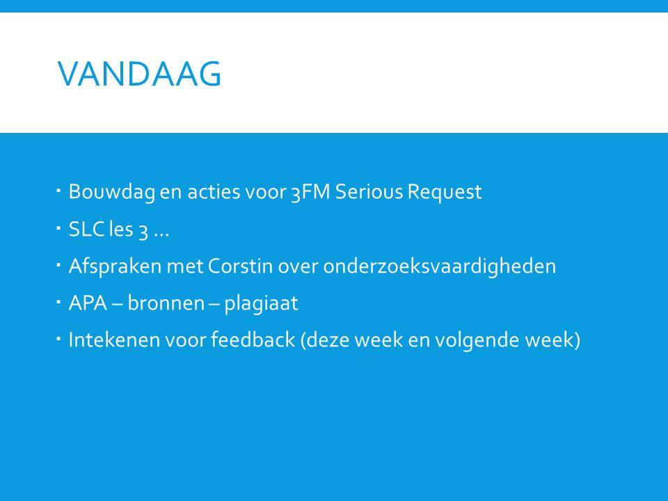 VANDAAG  Bouwdag en acties voor 3FM Serious Request  SLC les 3...