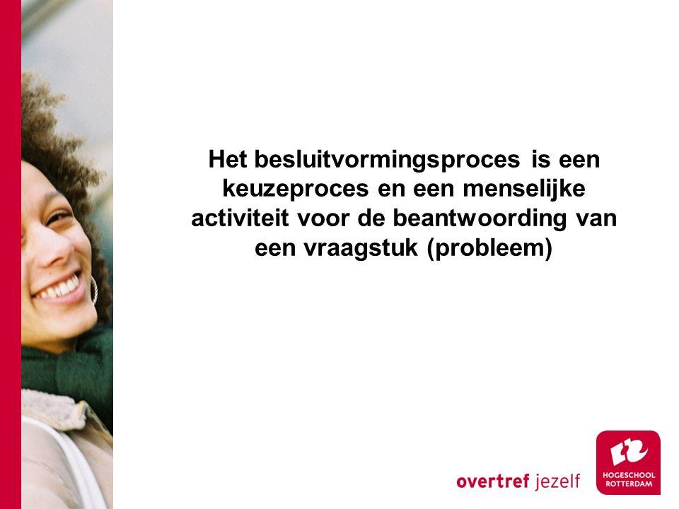 Het besluitvormingsproces is een keuzeproces en een menselijke activiteit voor de beantwoording van een vraagstuk (probleem)