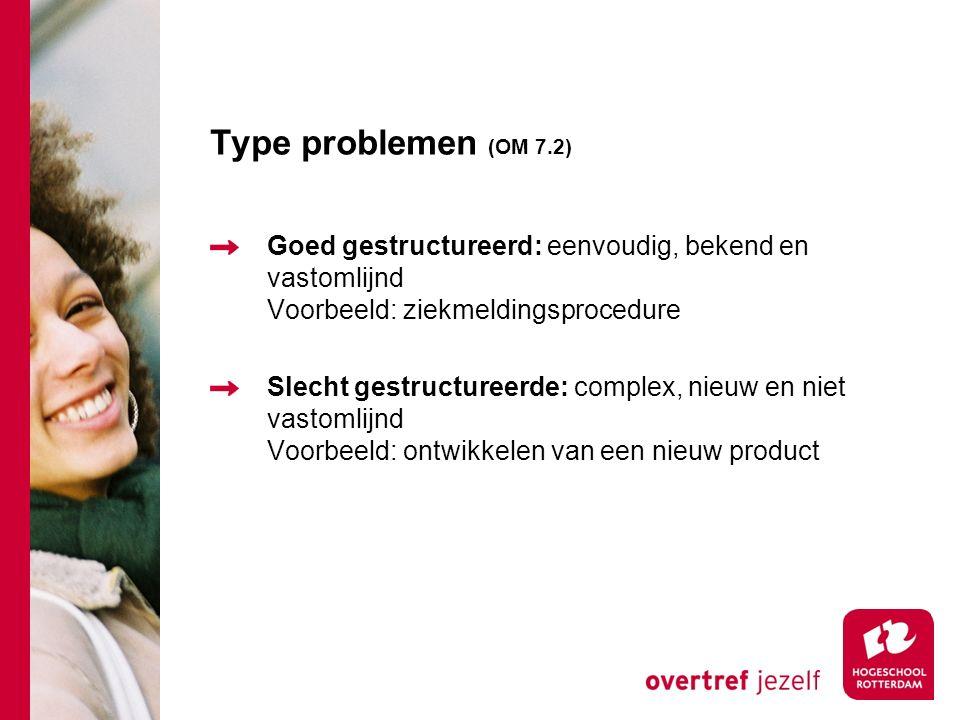 Type problemen (OM 7.2) Goed gestructureerd: eenvoudig, bekend en vastomlijnd Voorbeeld: ziekmeldingsprocedure Slecht gestructureerde: complex, nieuw en niet vastomlijnd Voorbeeld: ontwikkelen van een nieuw product
