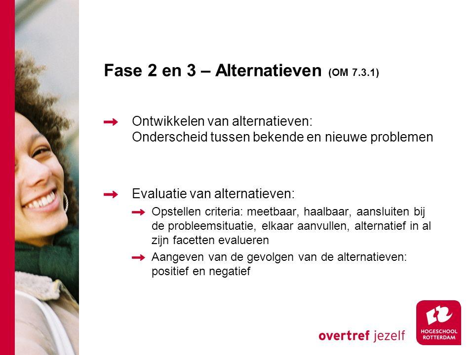 Fase 2 en 3 – Alternatieven (OM 7.3.1) Ontwikkelen van alternatieven: Onderscheid tussen bekende en nieuwe problemen Evaluatie van alternatieven: Opstellen criteria: meetbaar, haalbaar, aansluiten bij de probleemsituatie, elkaar aanvullen, alternatief in al zijn facetten evalueren Aangeven van de gevolgen van de alternatieven: positief en negatief