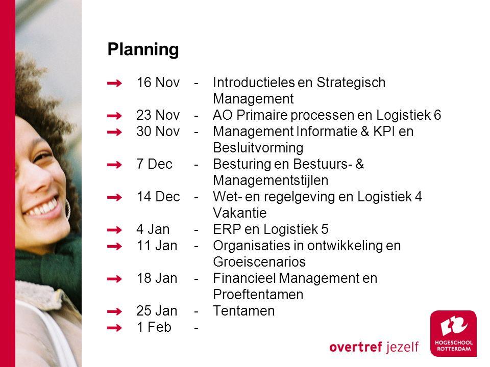 Planning 16 Nov-Introductieles en Strategisch Management 23 Nov-AO Primaire processen en Logistiek 6 30 Nov-Management Informatie & KPI en Besluitvorming 7 Dec-Besturing en Bestuurs- & Managementstijlen 14 Dec-Wet- en regelgeving en Logistiek 4 Vakantie 4 Jan-ERP en Logistiek 5 11 Jan-Organisaties in ontwikkeling en Groeiscenarios 18 Jan-Financieel Management en Proeftentamen 25 Jan-Tentamen 1 Feb-