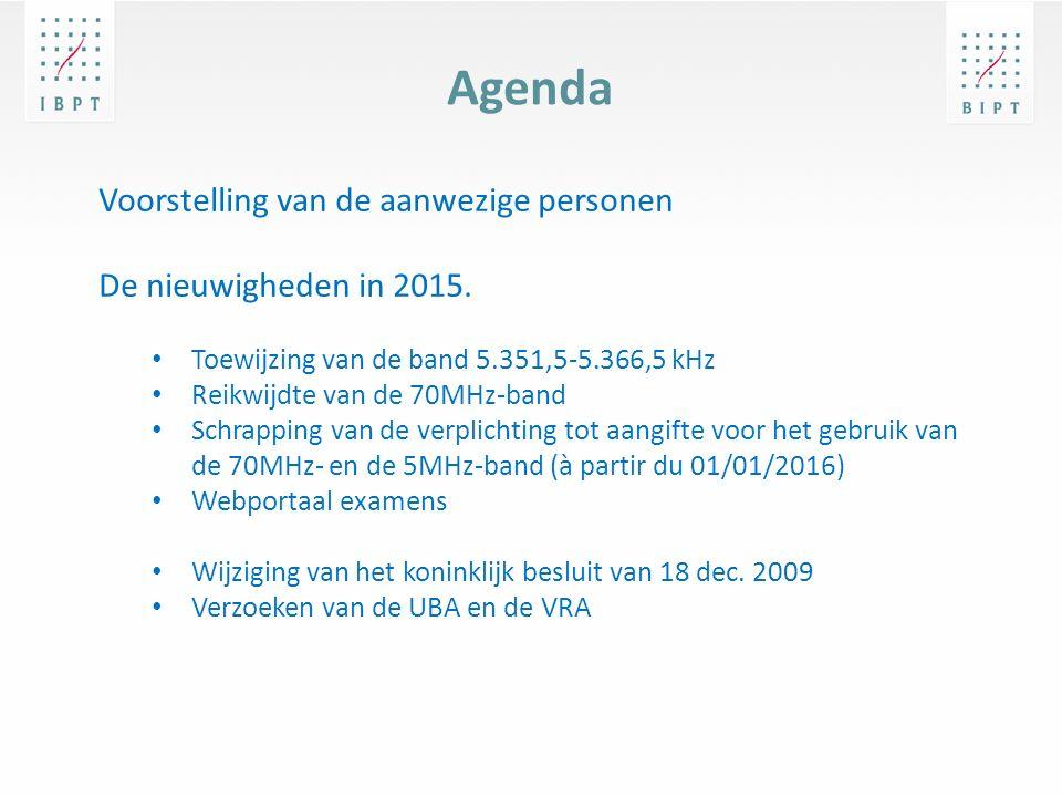 Agenda Voorstelling van de aanwezige personen De nieuwigheden in 2015.