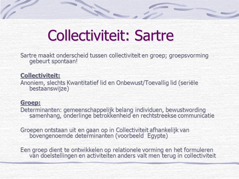 Collectiviteit: Sartre Sartre maakt onderscheid tussen collectiviteit en groep; groepsvorming gebeurt spontaan! Collectiviteit: Anoniem, slechts Kwant