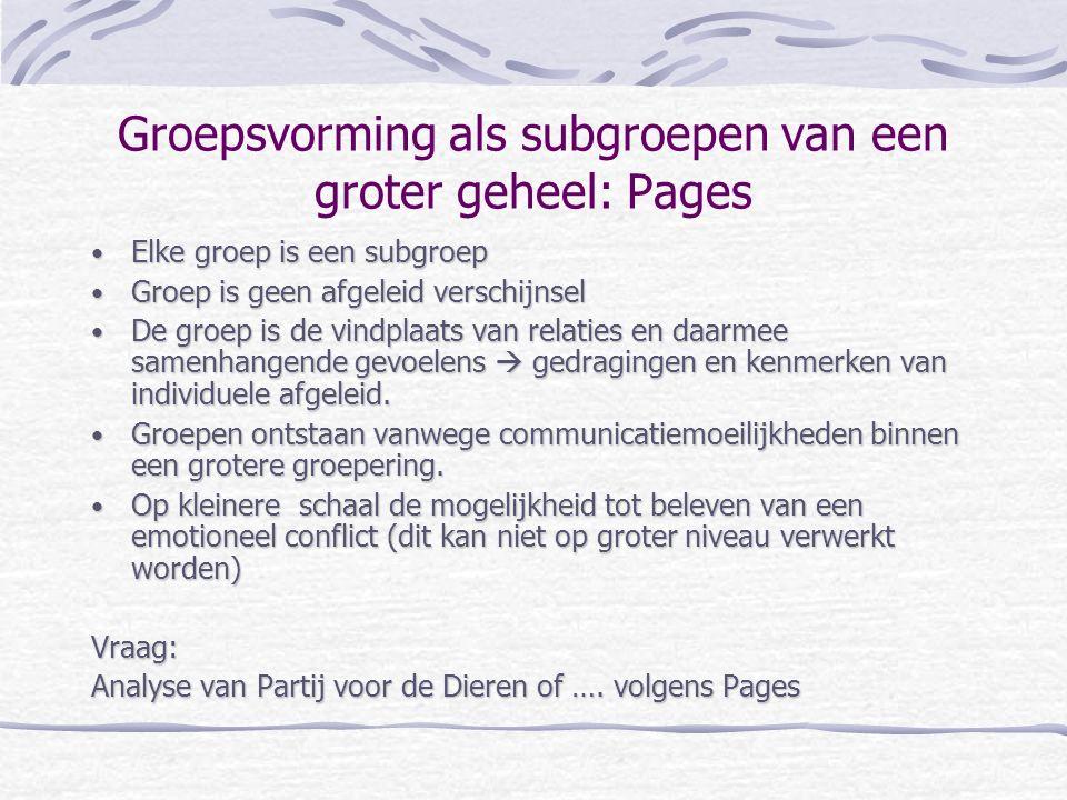 Groepsvorming als subgroepen van een groter geheel: Pages Elke groep is een subgroep Elke groep is een subgroep Groep is geen afgeleid verschijnsel Gr