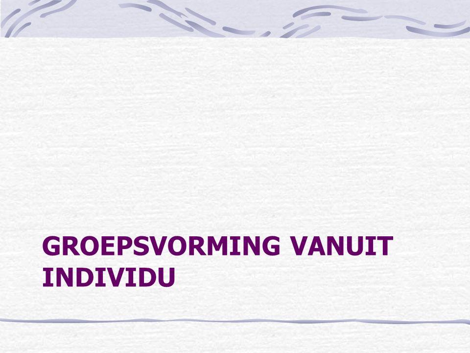 GROEPSVORMING VANUIT INDIVIDU