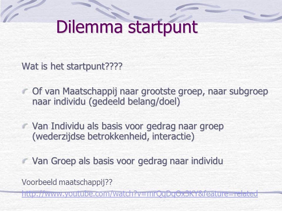 Dilemma startpunt Wat is het startpunt???? Of van Maatschappij naar grootste groep, naar subgroep naar individu (gedeeld belang/doel) Van Individu als
