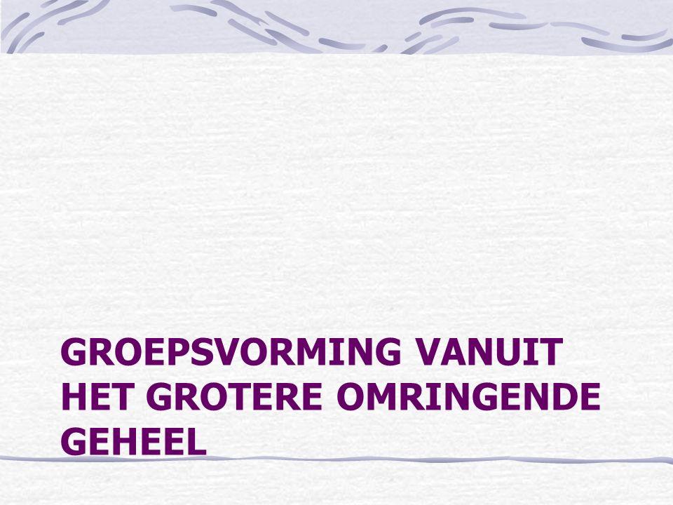 GROEPSVORMING VANUIT HET GROTERE OMRINGENDE GEHEEL