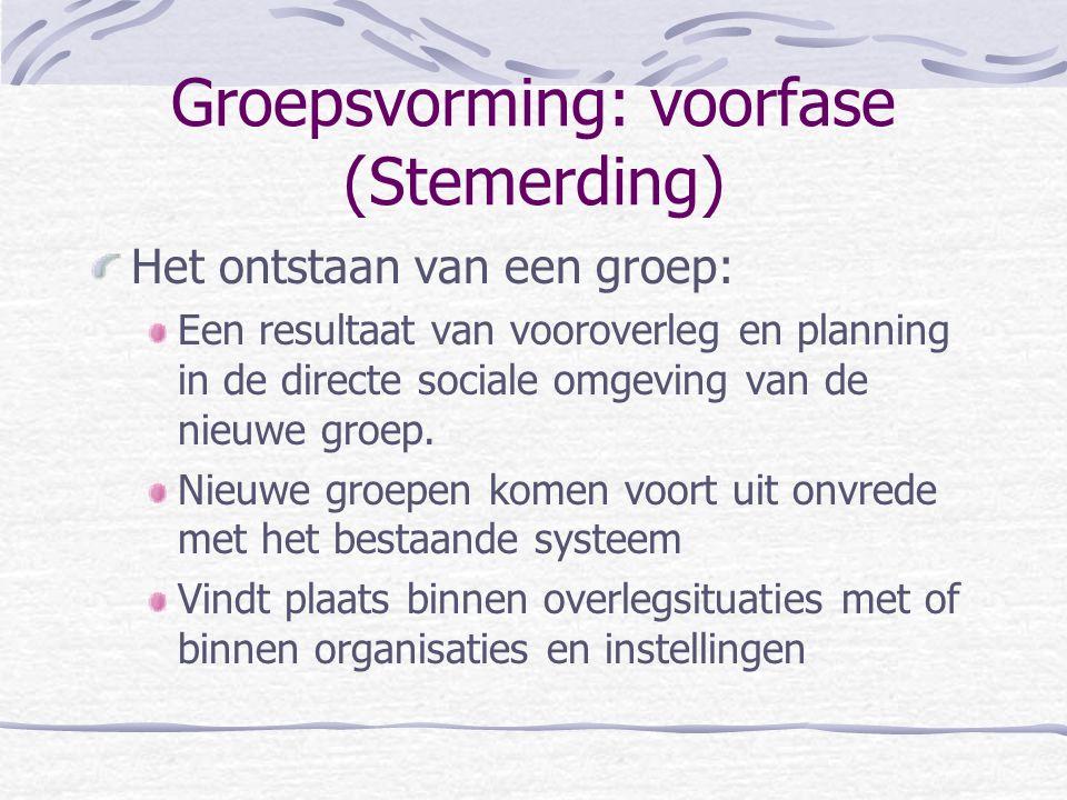 Groepsvorming: voorfase (Stemerding) Het ontstaan van een groep: Een resultaat van vooroverleg en planning in de directe sociale omgeving van de nieuw