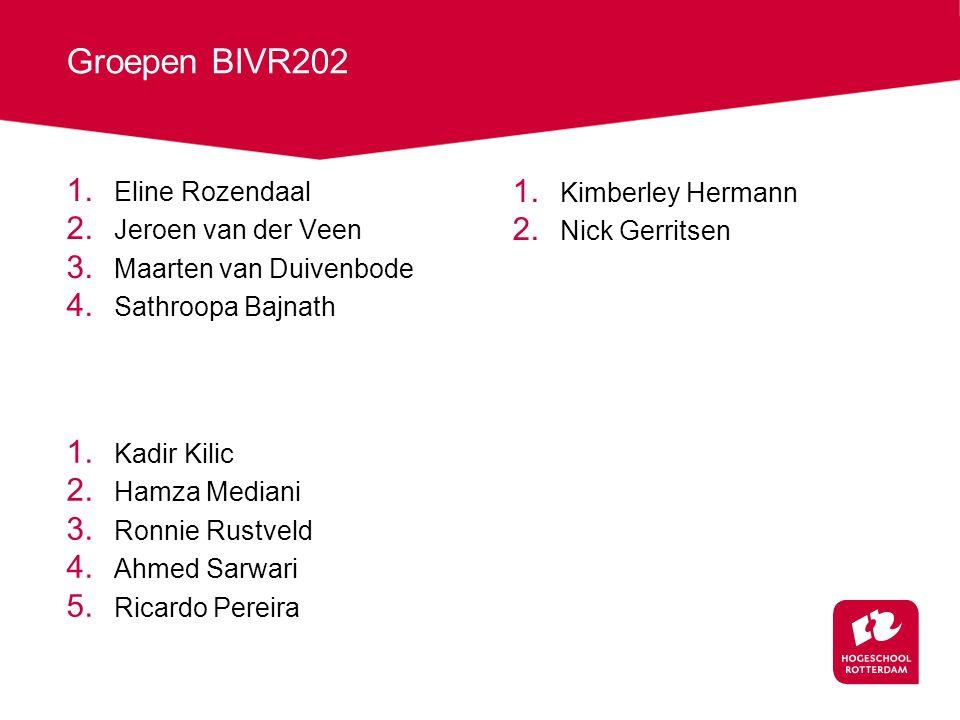 Groepen BIVR202 1. Eline Rozendaal 2. Jeroen van der Veen 3. Maarten van Duivenbode 4. Sathroopa Bajnath 1. Kadir Kilic 2. Hamza Mediani 3. Ronnie Rus