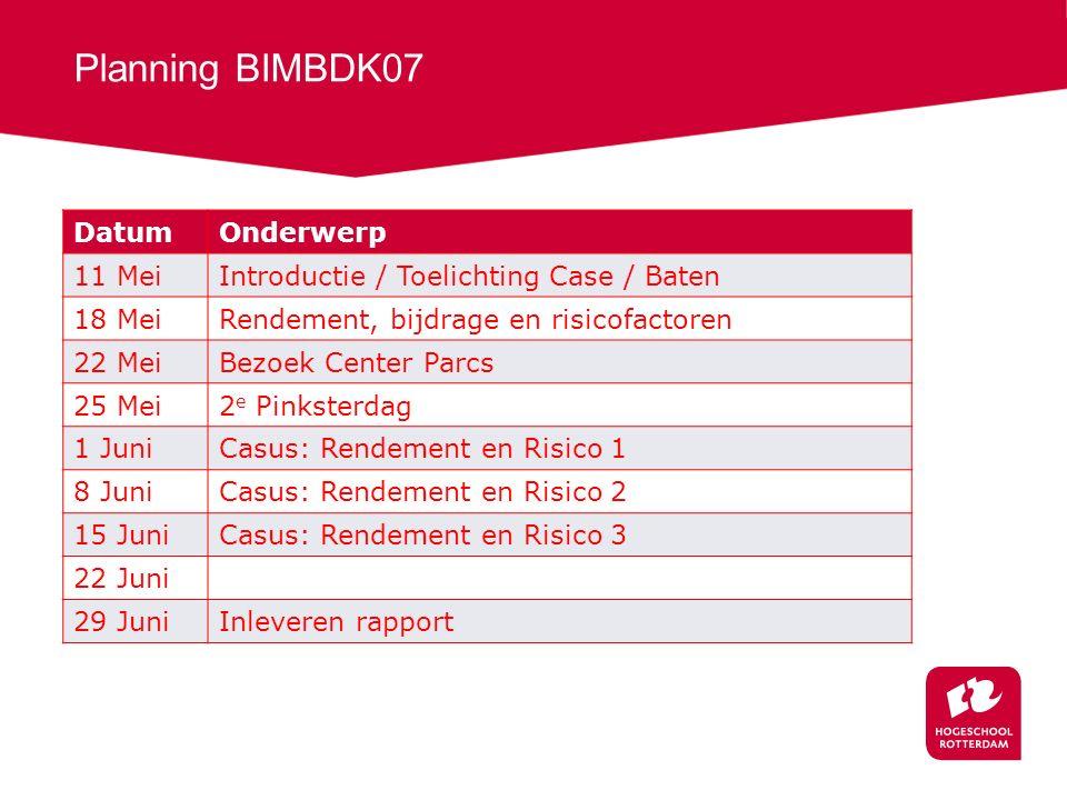 Planning BIMBDK07 DatumOnderwerp 11 MeiIntroductie / Toelichting Case / Baten 18 MeiRendement, bijdrage en risicofactoren 22 MeiBezoek Center Parcs 25