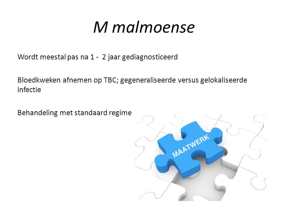 M malmoense Wordt meestal pas na 1 - 2 jaar gediagnosticeerd Bloedkweken afnemen op TBC; gegeneraliseerde versus gelokaliseerde infectie Behandeling m