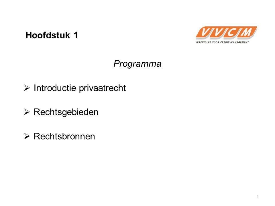 Hoofdstuk 1 Programma  Introductie privaatrecht  Rechtsgebieden  Rechtsbronnen 2
