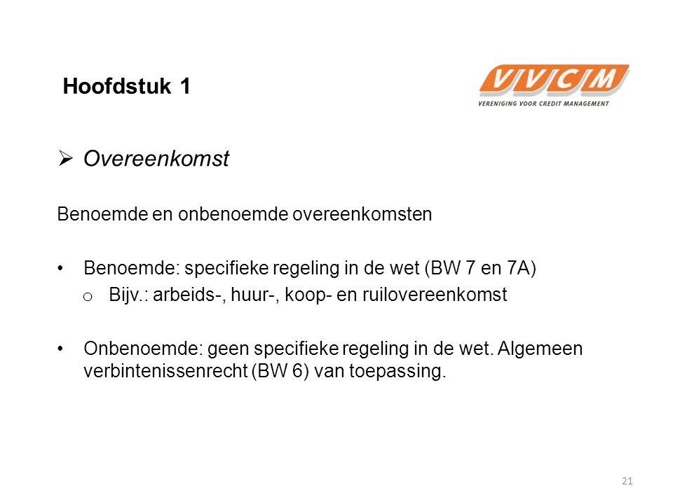 Hoofdstuk 1  Overeenkomst Benoemde en onbenoemde overeenkomsten Benoemde: specifieke regeling in de wet (BW 7 en 7A) o Bijv.: arbeids-, huur-, koop-