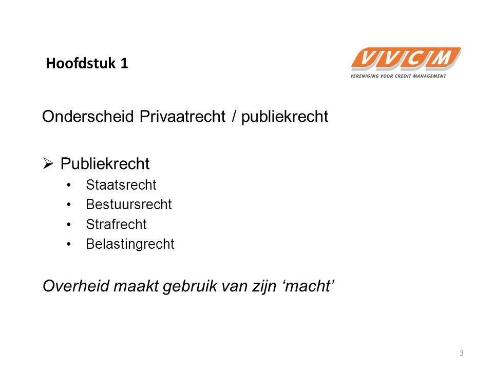 Hoofdstuk 1 Onderscheid Privaatrecht / publiekrecht  Publiekrecht Staatsrecht Bestuursrecht Strafrecht Belastingrecht Overheid maakt gebruik van zijn