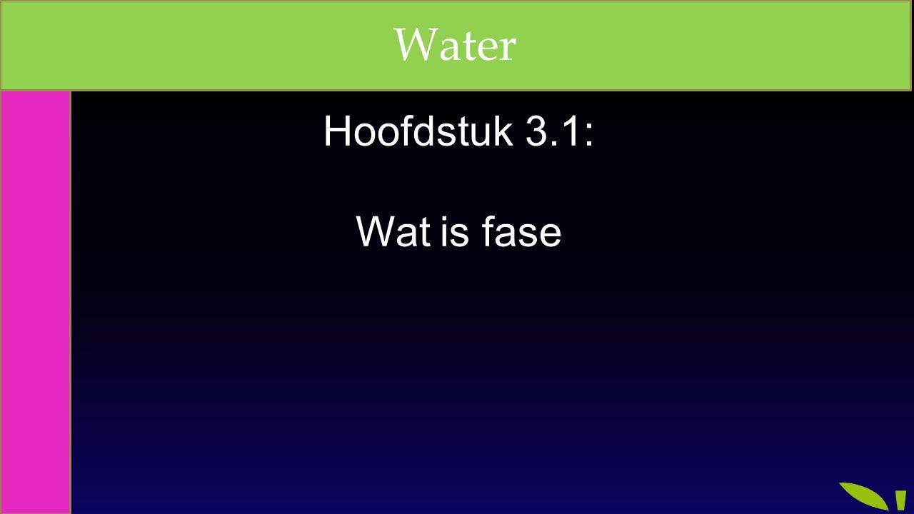 Hoofdstuk 3.1: Wat is fase Water