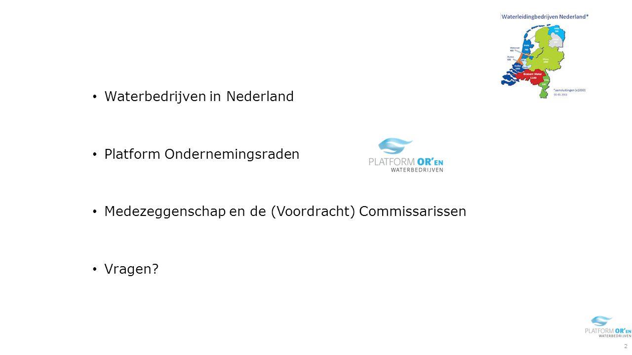Waterbedrijven in Nederland Platform Ondernemingsraden Medezeggenschap en de (Voordracht) Commissarissen Vragen.