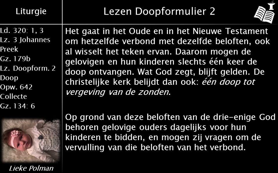Liturgie Ld.320: 1, 3 Lz.3 Johannes Preek Gz.179b Lz.Doopform.