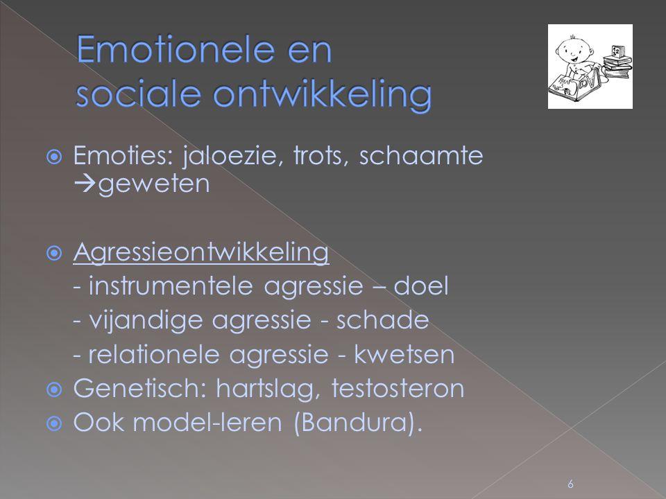  Emoties: jaloezie, trots, schaamte  geweten  Agressieontwikkeling - instrumentele agressie – doel - vijandige agressie - schade - relationele agressie - kwetsen  Genetisch: hartslag, testosteron  Ook model-leren (Bandura).