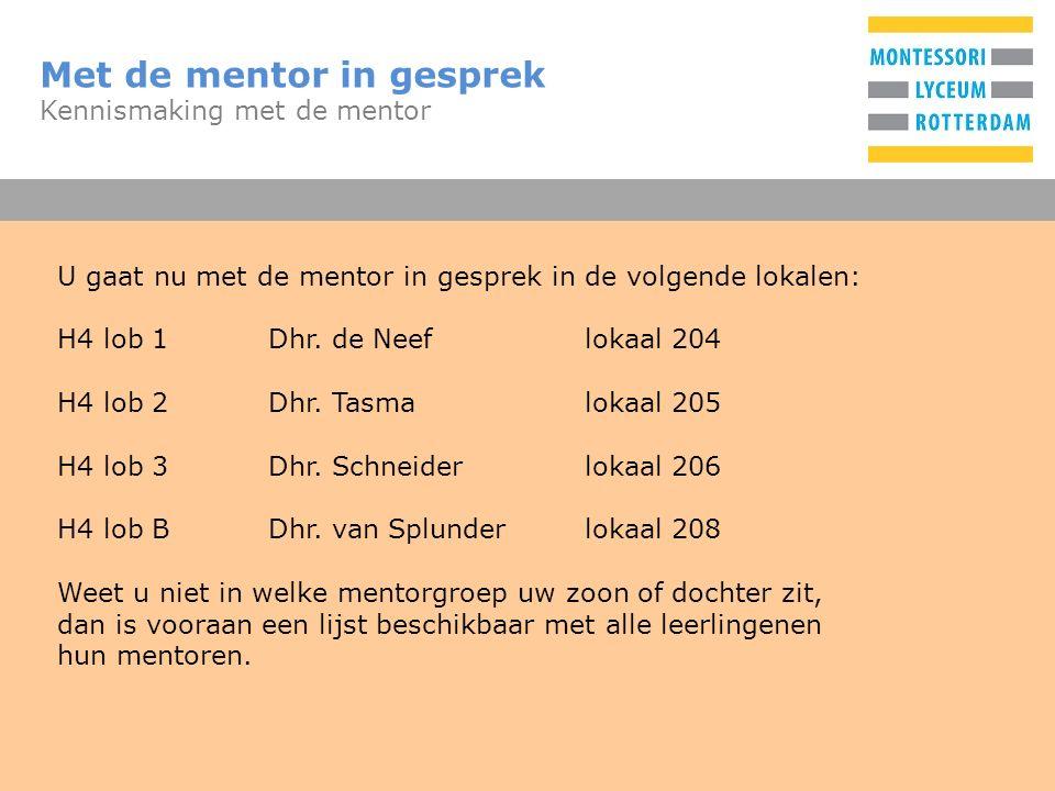 T Met de mentor in gesprek Kennismaking met de mentor U gaat nu met de mentor in gesprek in de volgende lokalen: H4 lob 1Dhr.