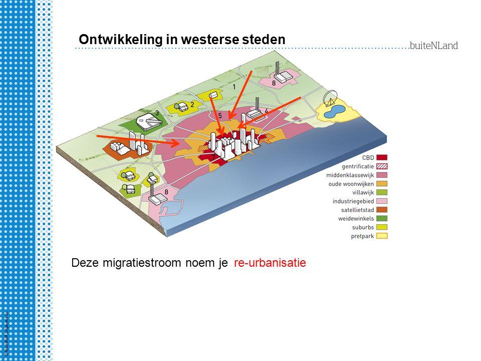 Ontwikkeling in westerse steden Deze migratiestroom noem jere-urbanisatie