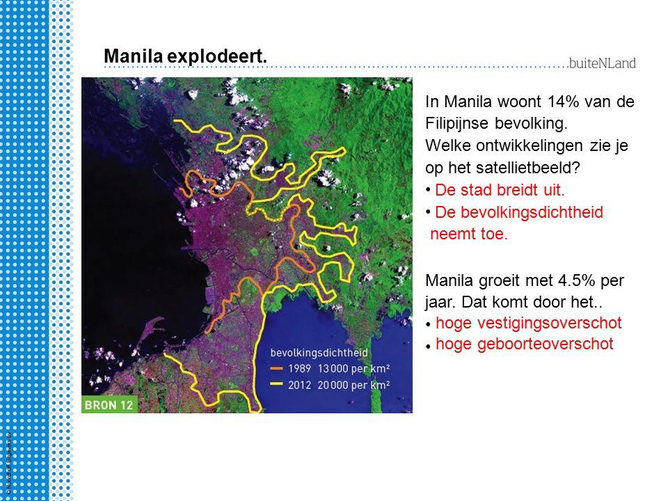 Manila explodeert. In Manila woont 14% van de Filipijnse bevolking. Welke ontwikkelingen zie je op het satellietbeeld? De stad breidt uit. De bevolkin