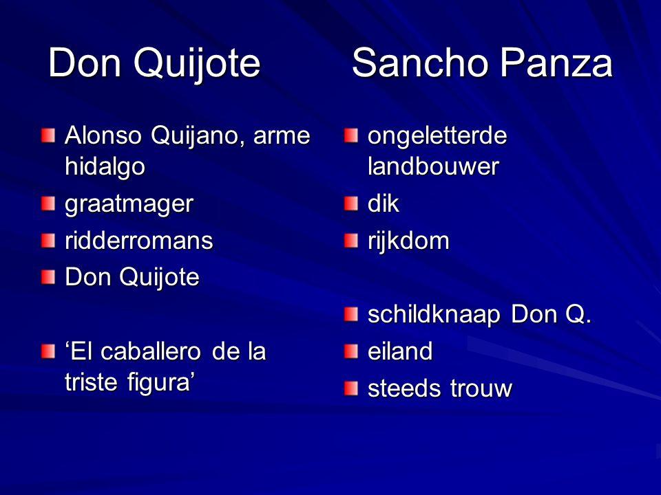 Don Quijote Sancho Panza Alonso Quijano, arme hidalgo graatmagerridderromans Don Quijote 'El caballero de la triste figura' ongeletterde landbouwer dikrijkdom schildknaap Don Q.