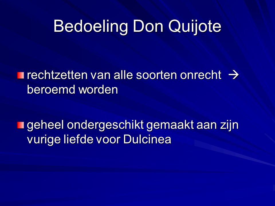 Bedoeling Don Quijote rechtzetten van alle soorten onrecht  beroemd worden geheel ondergeschikt gemaakt aan zijn vurige liefde voor Dulcinea