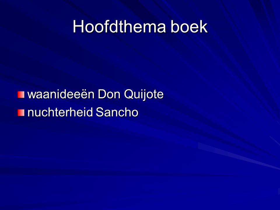 Hoofdthema boek waanideeën Don Quijote nuchterheid Sancho