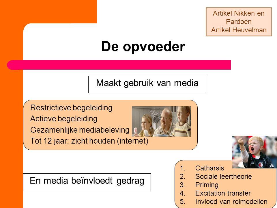 De opvoeder Restrictieve begeleiding Actieve begeleiding Gezamenlijke mediabeleving Tot 12 jaar: zicht houden (internet) Maakt gebruik van media En me