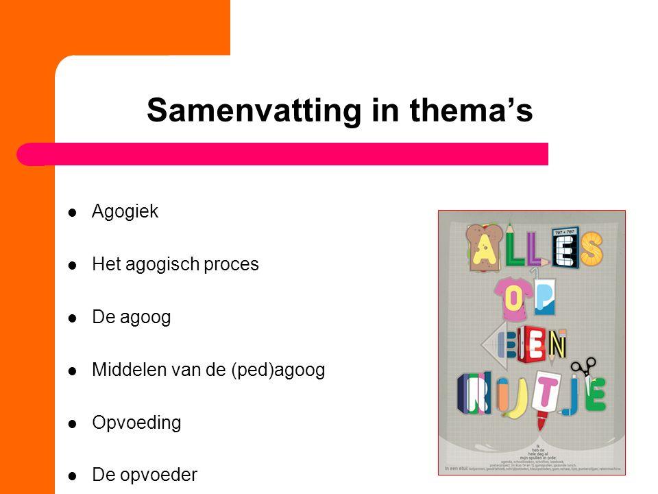 Agogiek 4 Boek: Brinkman H1 9 'Ingrediënten'Definitie agogiek Centraal thema: verandering