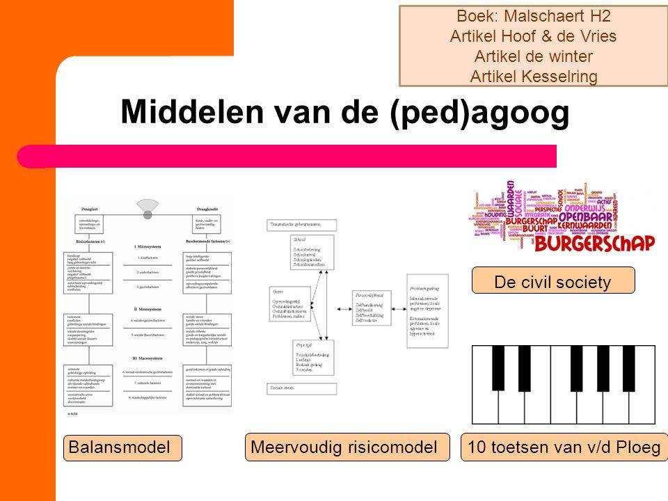 Middelen van de (ped)agoog Balansmodel Meervoudig risicomodel 10 toetsen van v/d Ploeg Boek: Malschaert H2 Artikel Hoof & de Vries Artikel de winter A