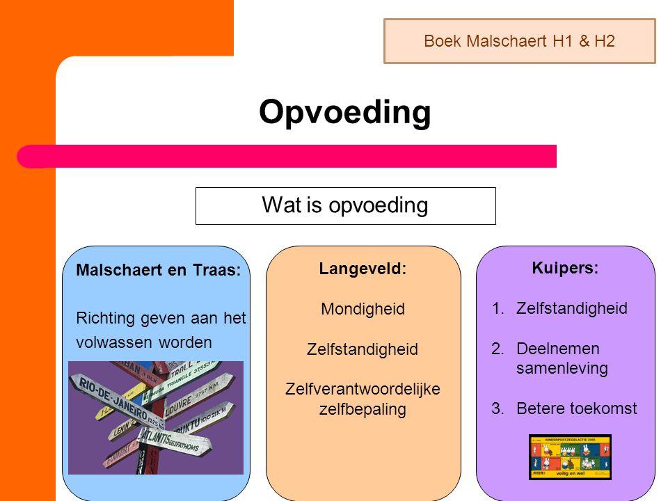 Opvoeding Malschaert en Traas: Richting geven aan het volwassen worden Wat is opvoeding Langeveld: Mondigheid Zelfstandigheid Zelfverantwoordelijke ze