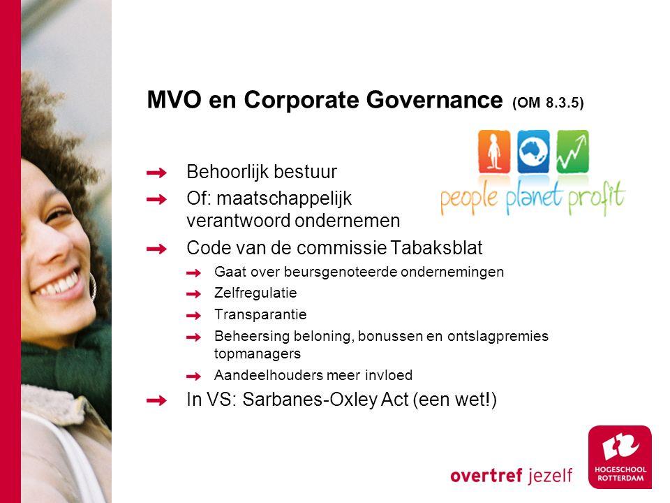 MVO en Corporate Governance (OM 8.3.5) Behoorlijk bestuur Of: maatschappelijk verantwoord ondernemen Code van de commissie Tabaksblat Gaat over beursg
