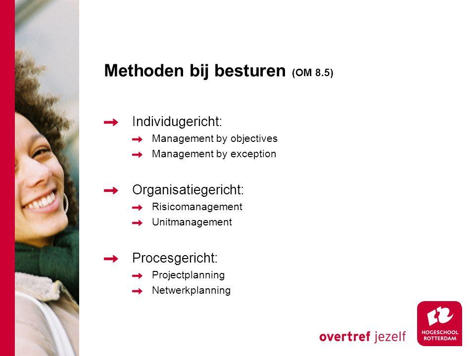 Methoden bij besturen (OM 8.5) Individugericht: Management by objectives Management by exception Organisatiegericht: Risicomanagement Unitmanagement P