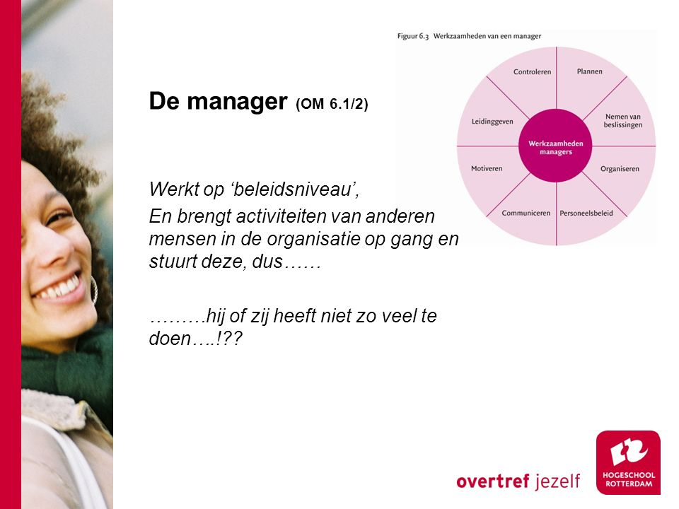 De manager (OM 6.1/2) Werkt op 'beleidsniveau', En brengt activiteiten van anderen mensen in de organisatie op gang en stuurt deze, dus…… ………hij of zi