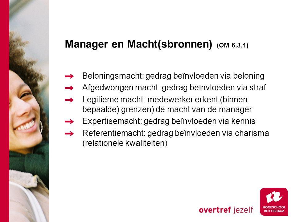 Manager en Macht(sbronnen) (OM 6.3.1) Beloningsmacht: gedrag beïnvloeden via beloning Afgedwongen macht: gedrag beïnvloeden via straf Legitieme macht: