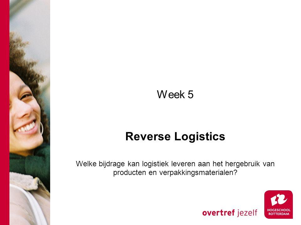 Week 5 Reverse Logistics Welke bijdrage kan logistiek leveren aan het hergebruik van producten en verpakkingsmaterialen?