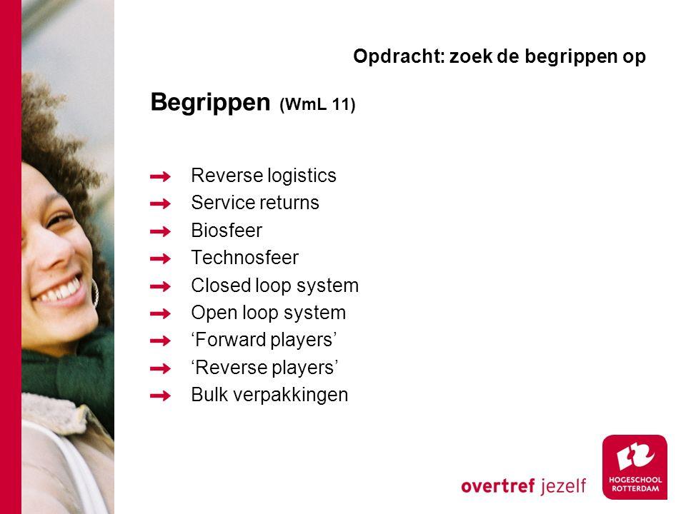 Begrippen (WmL 11) Reverse logistics Service returns Biosfeer Technosfeer Closed loop system Open loop system 'Forward players' 'Reverse players' Bulk