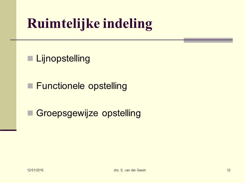 12/01/2016 drs. S. van der Geest12 Ruimtelijke indeling Lijnopstelling Functionele opstelling Groepsgewijze opstelling