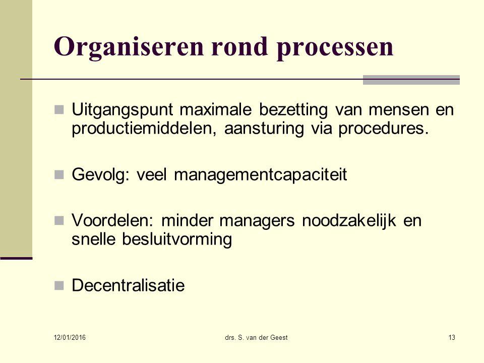 12/01/2016 drs. S. van der Geest13 Organiseren rond processen Uitgangspunt maximale bezetting van mensen en productiemiddelen, aansturing via procedur