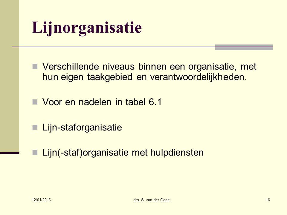 12/01/2016 drs. S. van der Geest16 Lijnorganisatie Verschillende niveaus binnen een organisatie, met hun eigen taakgebied en verantwoordelijkheden. Vo
