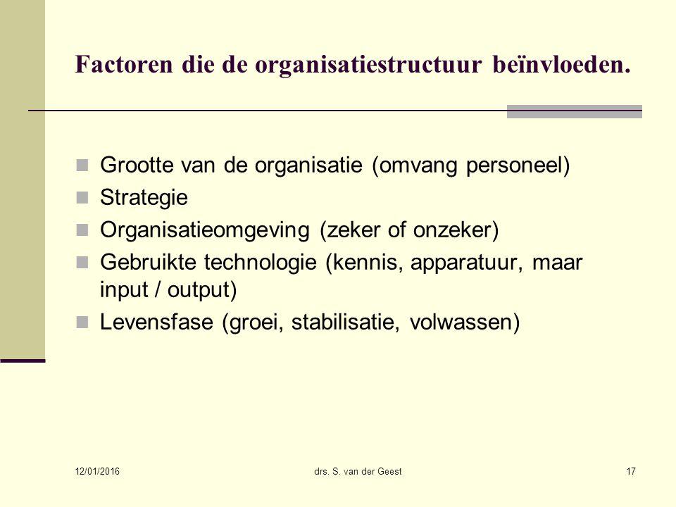 12/01/2016 drs. S. van der Geest17 Factoren die de organisatiestructuur beïnvloeden. Grootte van de organisatie (omvang personeel) Strategie Organisat