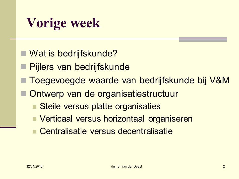 12/01/2016 drs. S. van der Geest2 Vorige week Wat is bedrijfskunde? Pijlers van bedrijfskunde Toegevoegde waarde van bedrijfskunde bij V&M Ontwerp van