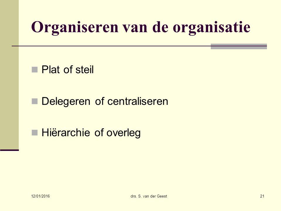 12/01/2016 drs. S. van der Geest21 Organiseren van de organisatie Plat of steil Delegeren of centraliseren Hiërarchie of overleg