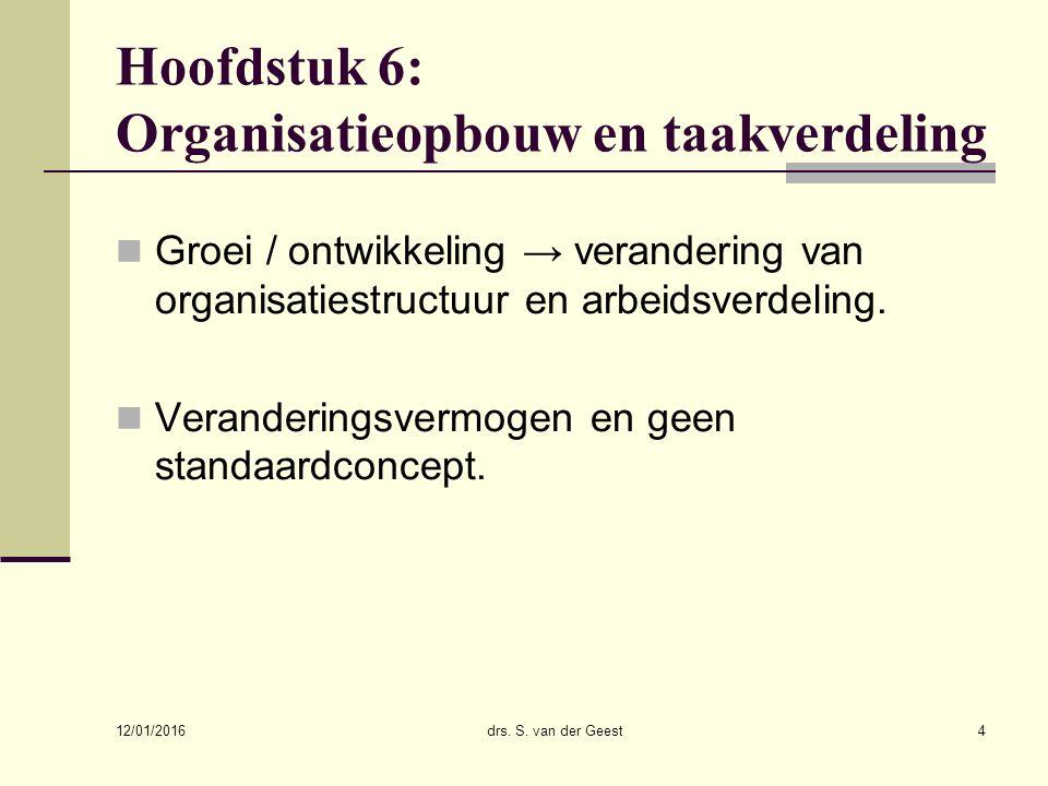 12/01/2016 drs. S. van der Geest4 Hoofdstuk 6: Organisatieopbouw en taakverdeling Groei / ontwikkeling → verandering van organisatiestructuur en arbei