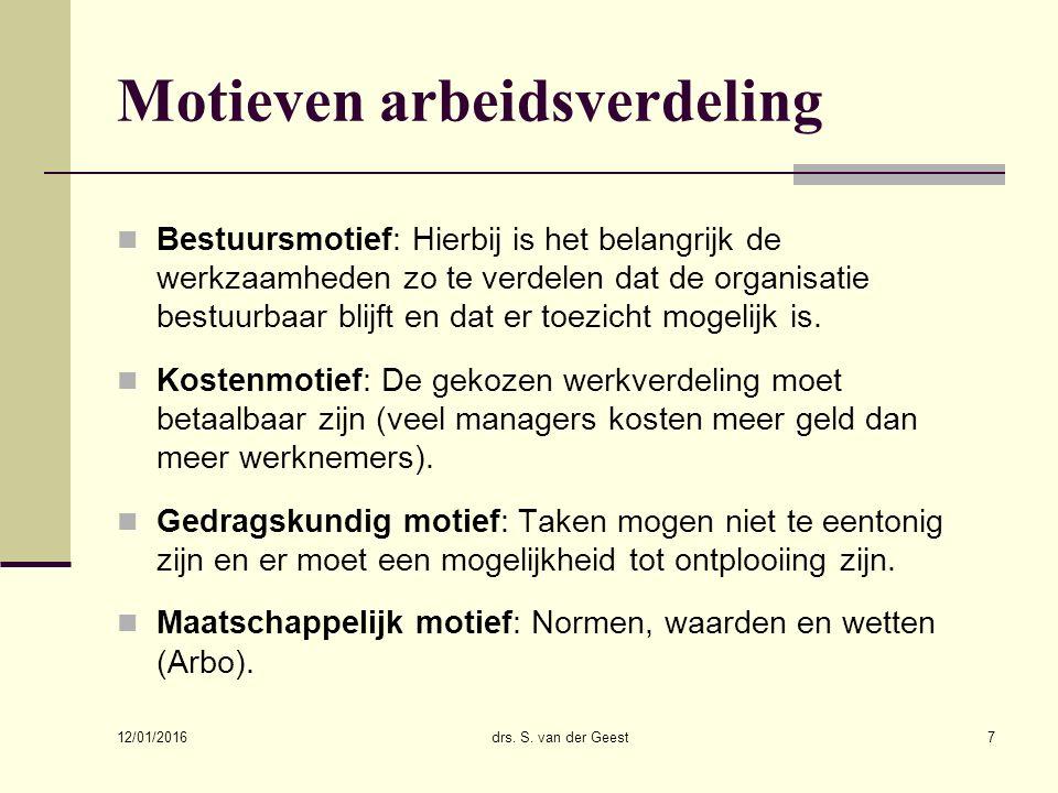 12/01/2016 drs. S. van der Geest7 Motieven arbeidsverdeling Bestuursmotief: Hierbij is het belangrijk de werkzaamheden zo te verdelen dat de organisat