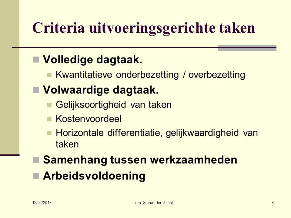 12/01/2016 drs. S. van der Geest8 Criteria uitvoeringsgerichte taken Volledige dagtaak.